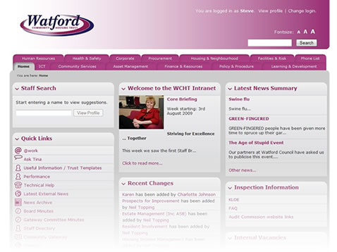 Watford Community Housing Trust Intranet (2007-10)